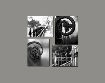SALE, Paris Prints, Architecture, 4 Photo Set, Black and White Travel Photography, Fences, Rustic, Industrial, Save 50%
