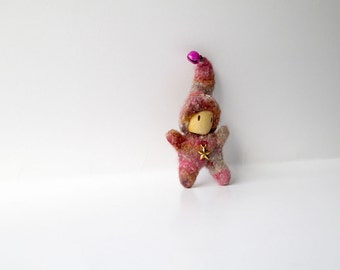 Pink felted miniature gnome for child or adult. Knit felted tiny doll. Quirky gift love token for Valentines Day.