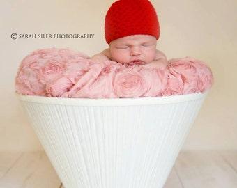 Crochet Baby Girl Cherry Beanie, Custom Made, Newborn, 0-3M, 3-6 Months, Cupcake Hat, Photo Prop, Baby Shower Gift