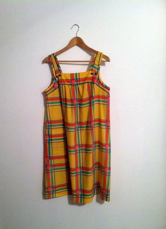 1970s Yellow Plaid Sundress