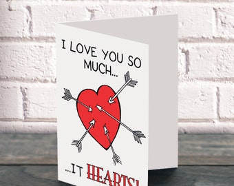 Printable valentine Funny valentine card I Love You So Much It Hearts tribal arrows cute valentine cupid arrow sweet digital valentine DIY