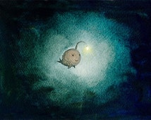 a light in the dark - angler fish art print encouragement hope art dark teal wall art inspirational art deep sea fish sea monster whimsical