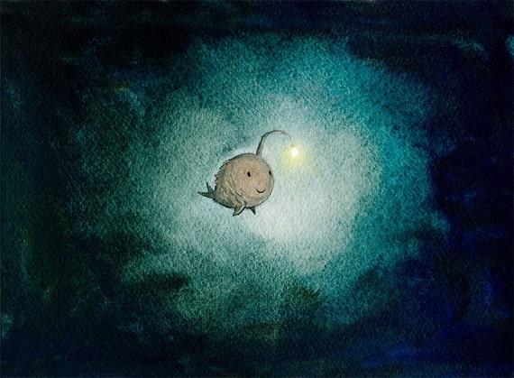 a light in the dark - angler fish art print encouragement hope art dark teal wall art inspirational art deep sea fish sea monster whimsical