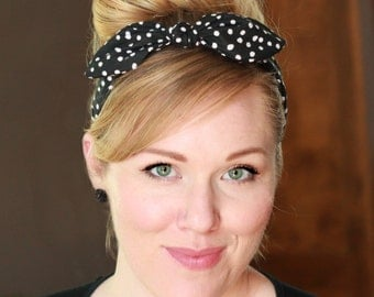 Rockabilly Wired Scarf Headband in Black Polka Dot