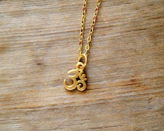 Tiny 24K Gold Plated Sterling Silver Om Charm on 14K Gold Filled Necklace