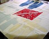 Vintage 70s Fabric Panel -Farmer Bunny Rabbit Doll Toys to Sew n Stuff -Boy & Girl Clothes Denim Overalls, Red Bandanna, Gingham Dress