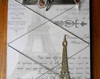 Embellished Paris Clipboard, Photo Holder, Memo. upcycled