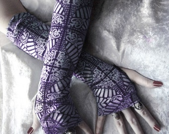 Cathedrals in Wisteria Arm Warmers - Plum Purple & Cream Stained Glass Cotton Burnout - Gothic Tribal Goth Yoga Cycling Celtic Vampire Noir