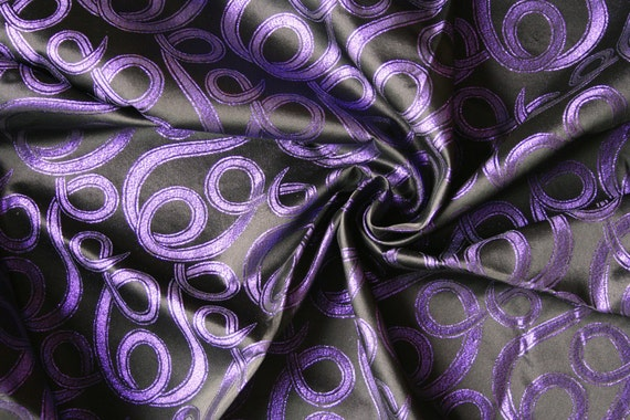 Black and purple jaquard fabric yardage