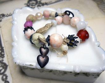 25 DOLLAR SALE - Beaded Bracelet - White and Pink Rustic Bracelet - Macrame, Glass, VIntage Plastic, Metal Heart Charm