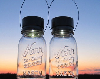 Kerr Jar Mason Solar Lights Hanging Outdoor Lighting Vintage Jar Lanterns, Quarts or Pints