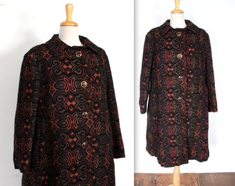 1960's STUNNING Brocade Tapestry Swing Coat // Large
