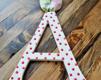 "Wall letter Wooden letter 11 - 15"" Hand painted wooden letter Wall letters for nursery Hanging letters with polka dots"