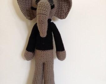 Salvador Dali Elephant, crochet elephant doll, crocheted artist doll