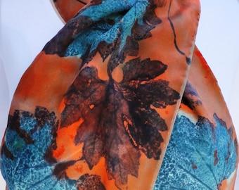 silk crepe scarf Thai Melon Leaf peach blue teal hand painted unique long wearable art women fashion accessory