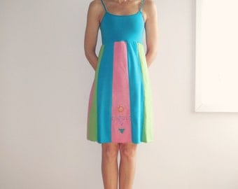 T-Shirt Dress Recycled T-Shirt Dress Women' s Clothing Aqua Lime Green Pink Knee Length Cotton Dress Handmade Dress Summer Dress