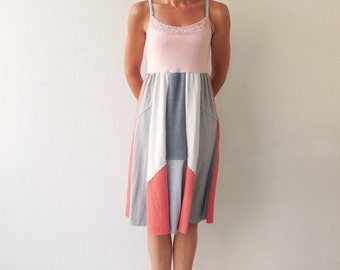 Upcycled T-Shirt Dress Womens Summer Dress Peach Pink Gray Salmon Soft Cotton Dress Recycled Dress Fashion Handmade Dress Eco Dress ohzie