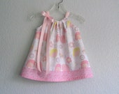 Easter Chicks! Baby Girls Pink and White Dress and Bloomers Outfit - White Dress with Pink & Yellow Chicks - Size Nb, 3m, 6m, 9m, 12m or 18m