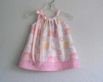 Baby Girls Sun Dress - Pink and White Dress and Bloomers Outfit - White Dress with Pink & Yellow Chicks - Size Nb, 3m, 6m, 9m, 12m or 18m