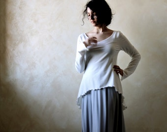 Women blouse, long sleeve top, winter top, white top, high low top, swallowtail top, cotton top, long top tunic top, party top, maternity