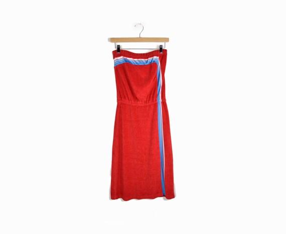 robe de plage en tissu ponge vintage des ann es 70 en rouge. Black Bedroom Furniture Sets. Home Design Ideas