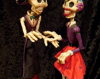 Large Day of the Dead pair of  Skeleton Marionettes MADE TO ORDER