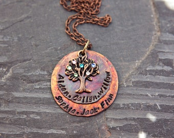 Hand Stamped Family Tree Necklace - Mother Necklace -Patina Necklace-Grandmother Necklace- Family Tree Necklace With Birthstones