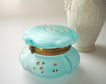 Antique Glass Vanity Box Blue Glass Trinket Box Hinged Powder Jar Dresser Box Powder Blue Enameled Glass Jewelry Box