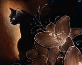 A4 Giclée PRINT 'Gypsy' the black kitty