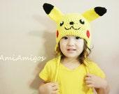 Crochet Pikachu Hat (Custom Size) Made to Order