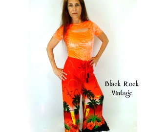 Wrap Pants Vivid Tropical Sunset Vintage Upcycled Size Medium Large