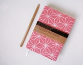 SALE! LAST ONE! A6 Coral Pink Vintage Kimono Silk Reusable Journal and Cover 'White Star'