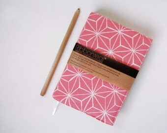 SALE! LAST ONE! Coral Pink Vintage Kimono Silk Reusable Diary and Cover 'White Star'