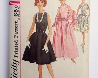 Vintage Pattern Simplicity 5017 Sewing pattern 1963 1960s full skirt dress Bust 36 Rockabilly Stole Ball gown Party dress Sleeveless