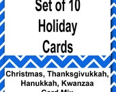 Christmas Cards, Set of 10 Cards, Mix, Holiday, Haunakkah, Thanksgivukkah, Thanksgiving, Kwanzaa, Limited Time Only
