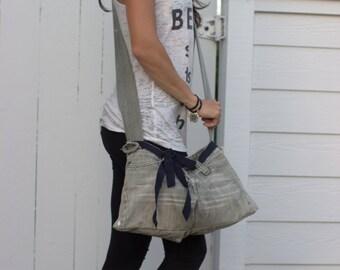 Upcycled Denim Shoulder Bag, Messenger Bag, Jean Bag, Over the Shoulder Bag, Side Bag, Crossover Bag, Unique Christmas Gift for Her