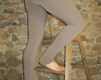 Yoga Leggings with Extra Long Cuff in Black/Taupe Bamboo French Terry - Sizes S/M and L/XL