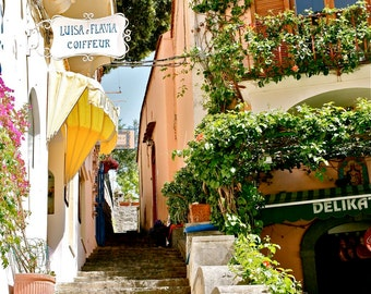 Positano Italy Photography - Streets of Positano Print Amalfi Coast Photograph Italian Photo Mediterranean Travel Photography Yellow