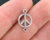 BULK 100 Peace Connector Charms Antique Silver Tone 2 Sided - SC4136