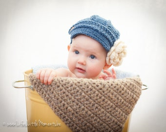 Baby Newsboy Hat - Girl Hat -0 - 3 Month -Newborn Girl Hat - Baby Hat - Baby Girl Hat- by JoJosBootique
