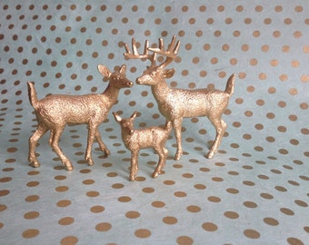 Golden Deer Cake Topper Figurines With Fawn