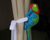 Baby nursery tieback Chameleon animal curtain holdback New born present - READY TO SHIP