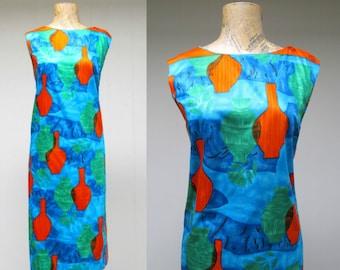 Vintage 1960s Dress / 60s Cotton Sateen Atomic Age Print Sheath / Medium