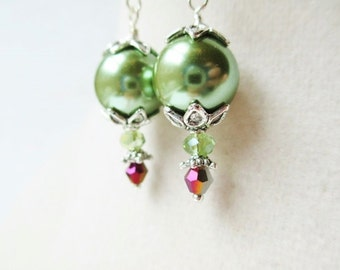 Sage Green Glass Pearl & Purple Crystal, Floral Silver Victorian Style Drop Earrings