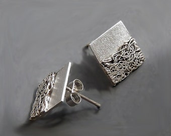 Sterling Silver Square Post Earrings SS9, Sterling Silver Square Studs SS9