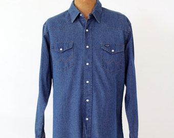 Wrangler denim shirt, vintage men's large snap front shirt