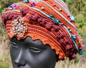 Bling Bling & more Bling Colorful Crochet Hat with a Beautiful Vintage Pin...