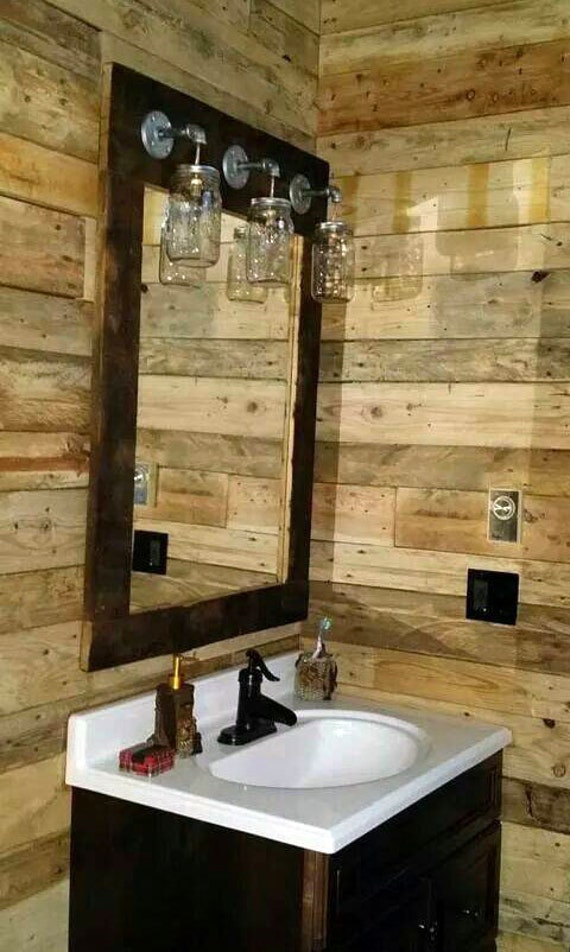 Rustic barnwood mirror light mason jar vanity farmhouse style Rustic bathroom vanity light fixtures