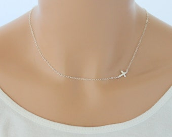 Sideways Cross Necklace, Silver Cross Necklace, Dainty Cross, Sideways Cross Necklace Women Layering Necklace