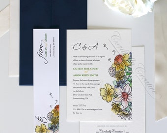 Wildflower Wedding Invitation watercolor illustrated with navy Envelope, vintage inspired on ivory felt paper for spring, summer, or fall
